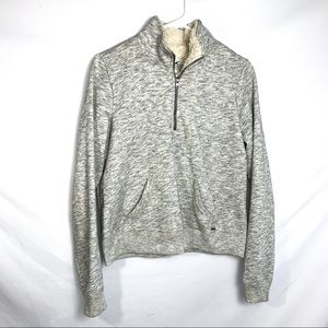 Hollister heather grey 1/4 zip pullover w/ Sherpa